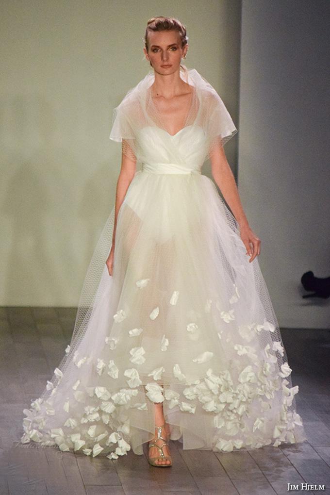 Jim Hjelm Spring 2016 Bridal Week Short Sleeves Beautiful Pretty A Line Wedding Dress Sweetheart Neckline