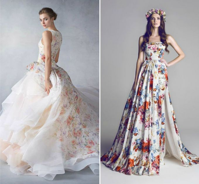 How to choose a colored wedding dress lunss couture floral colored wedding dresses junglespirit Gallery