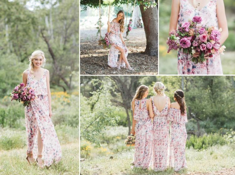 gorgeous floral print bridesmaid dresses for wedding