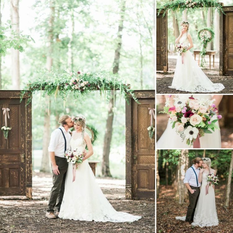 Rustic vintage spring wedding with sleeveless illusion for Rustic vintage wedding dresses