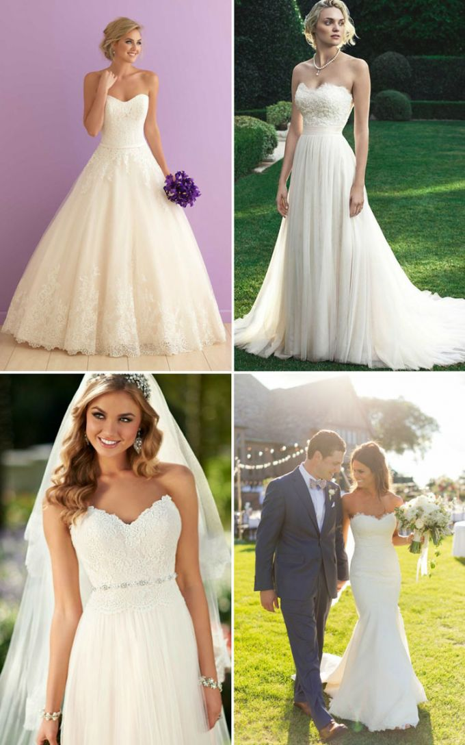 Simple strapless dress hairstyles wedding