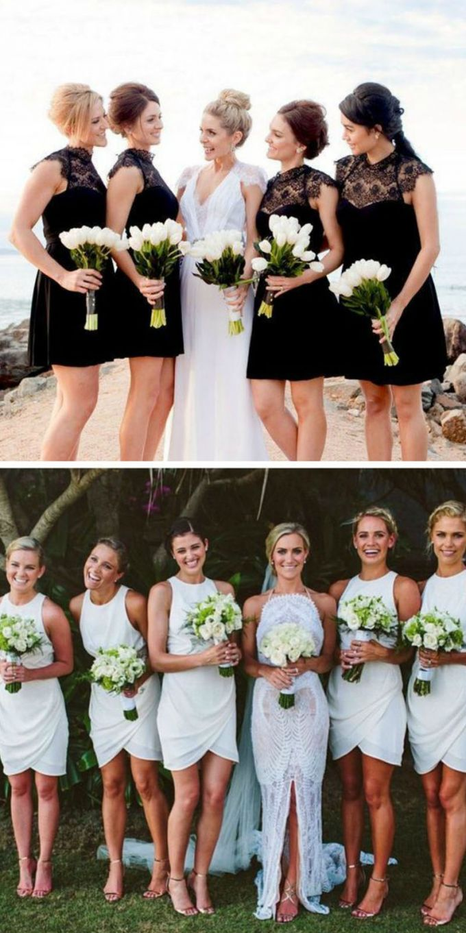 Top 5 rules of choice of short bridesmaid dress in color and design bridesmaid dress short same color same design black white ombrellifo Image collections