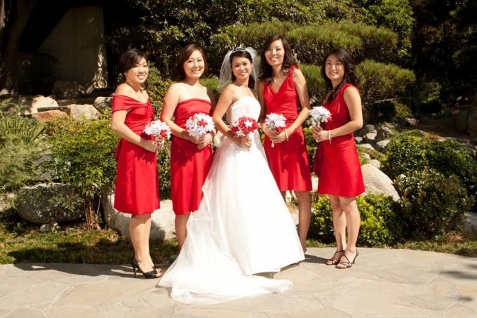 Bridesmaid Dress Short Same Color Different Design Red