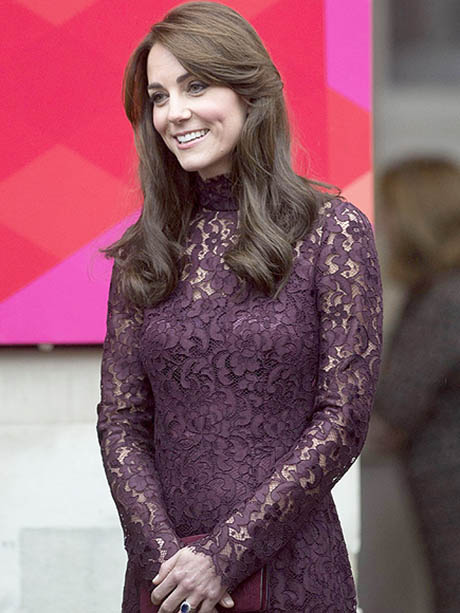 Princess Kate in plum lace dress