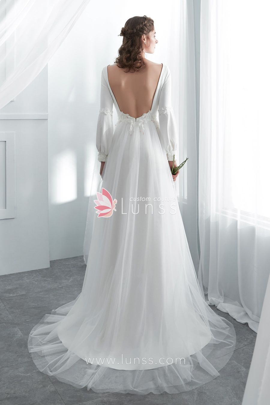 fa1063c0f201 Ivory Long Sleeve Soft Satin Pink Lace Boho A line Wedding Dress with Open  Back
