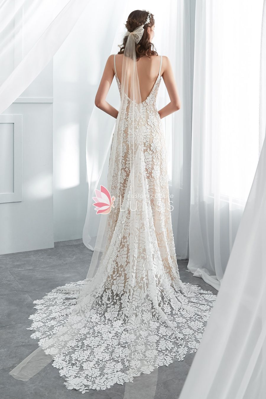 High Quality Custom Made Designer Boho Wedding Gowns Lunss