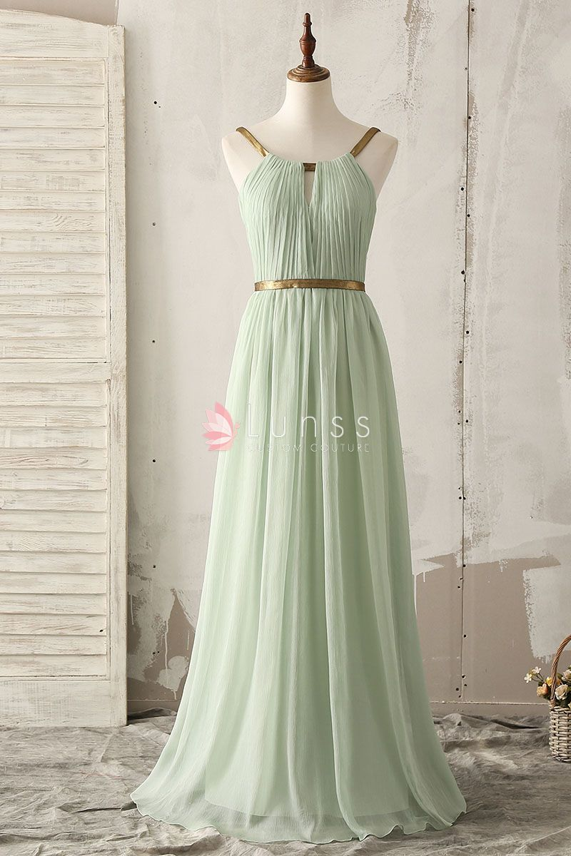 4816861eb6c10 unique gold strap floor length a line mint green chiffon crepe bridesmaid  dress