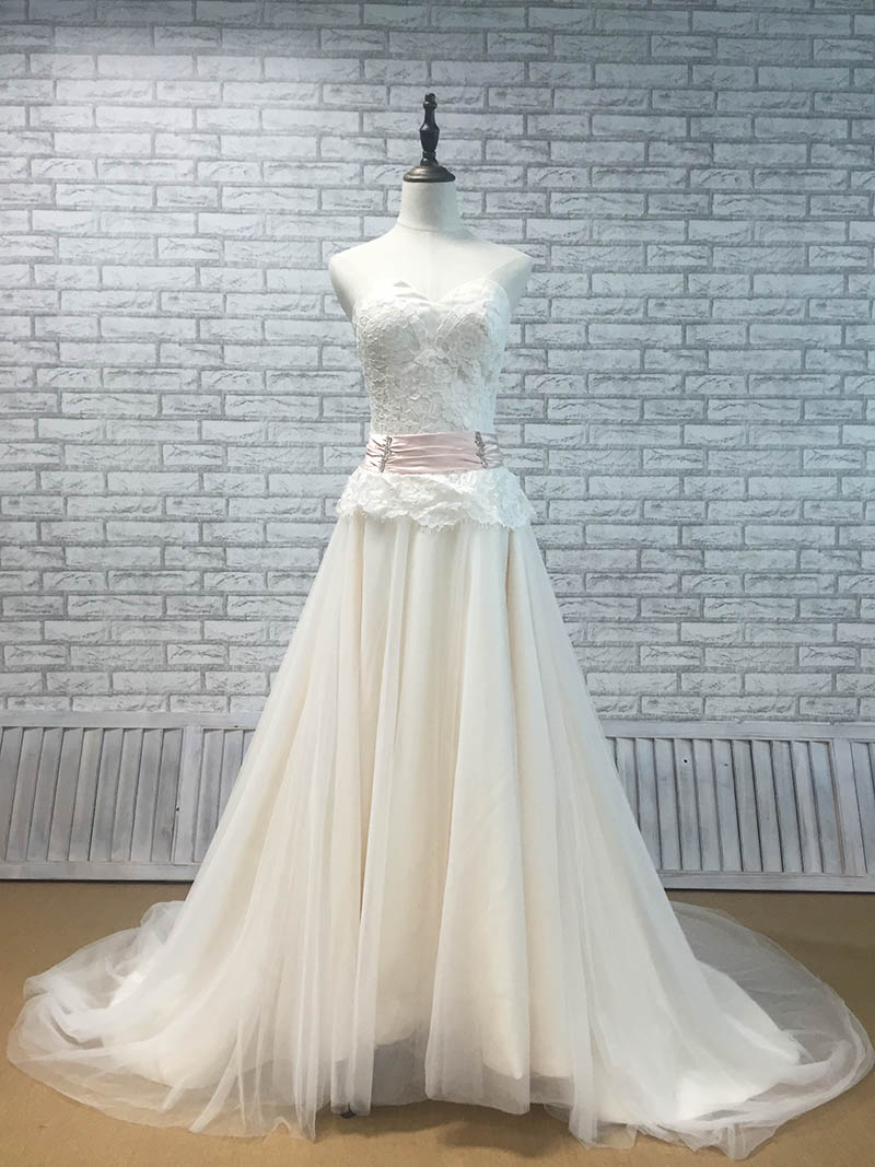 Elegant Strapless Champagne Lining Wedding Dress with Ivory Tulle ...