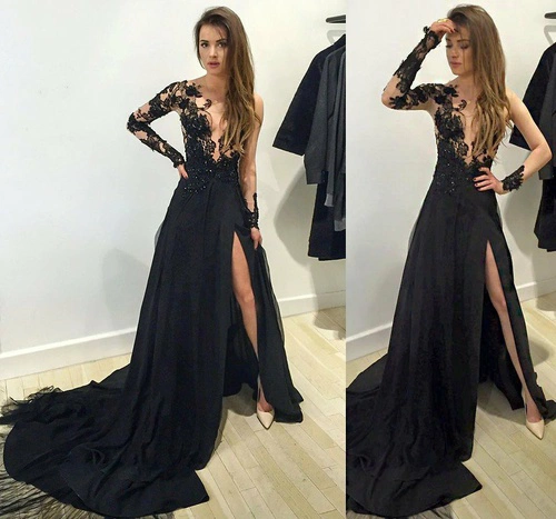 Black lace overlay prom dress