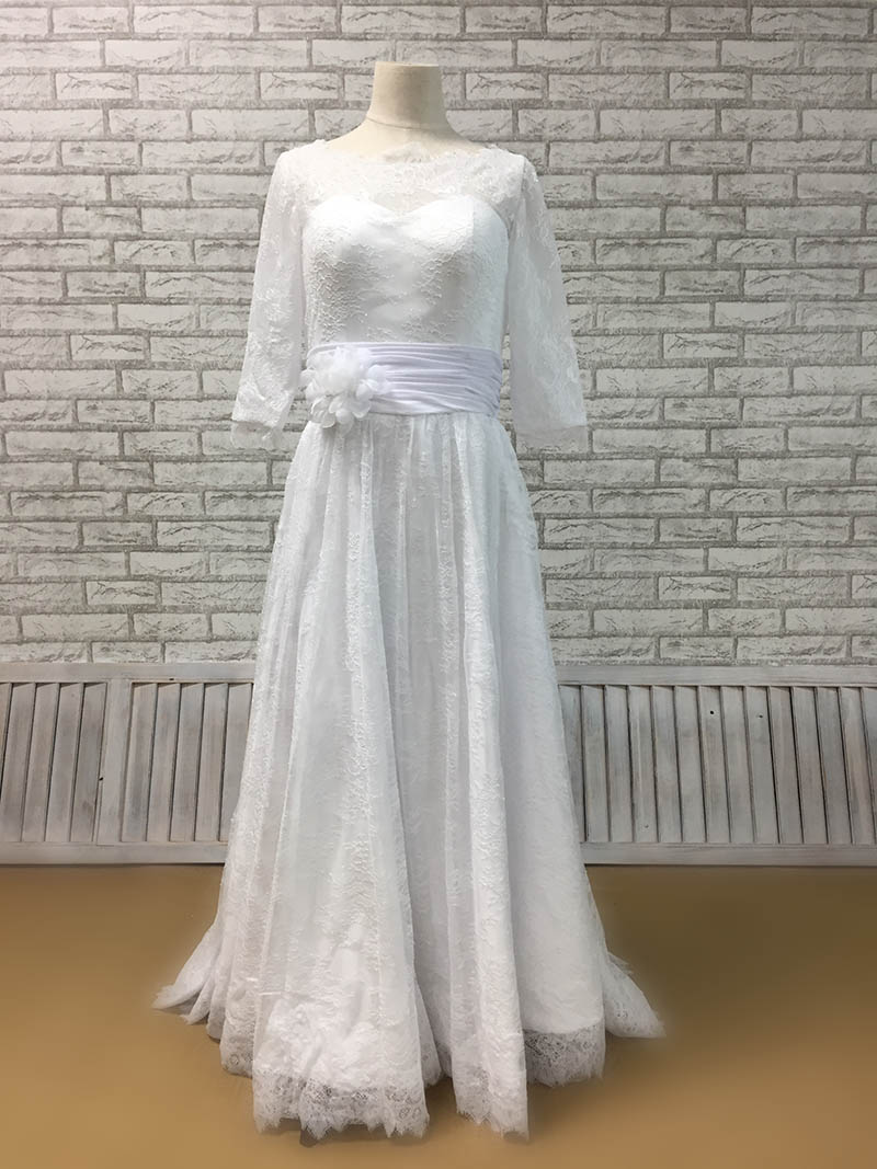 Illusion Elbow Length Sleeve Fall Wedding Dress with Lace Overlay ...