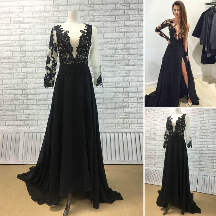 Black Lace and Chiffon A-line Prom Dress
