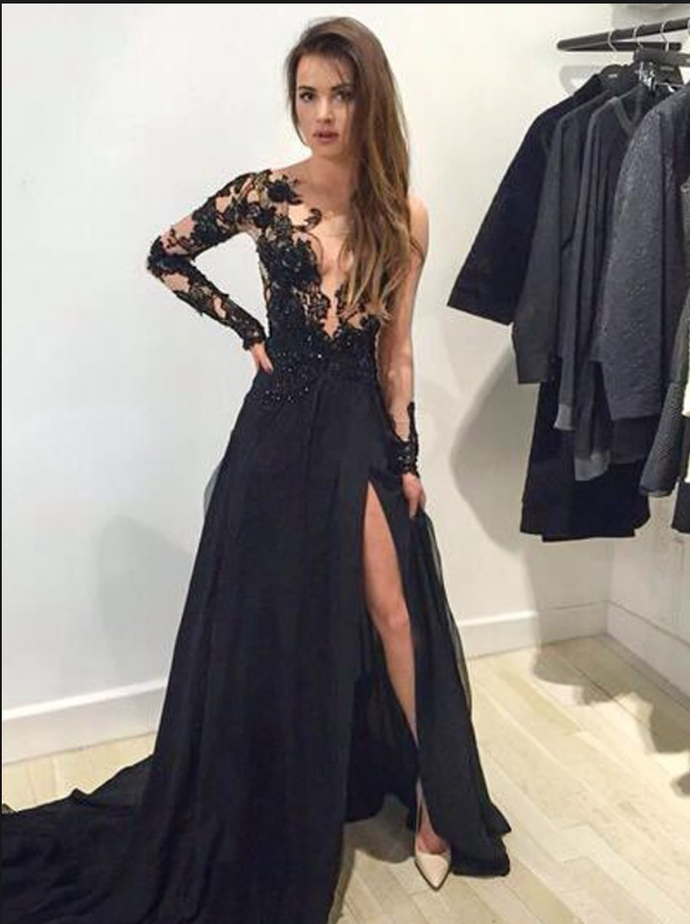 Black Lace and Chiffon A-line Prom Dress - Custom Design - Lunss Couture