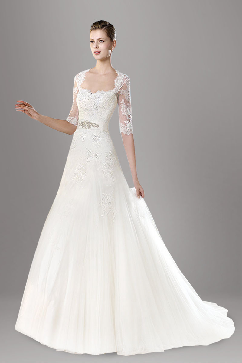 Hite lace half sleeve beaded fit and flare tulle wedding for Wedding dresses with half sleeves