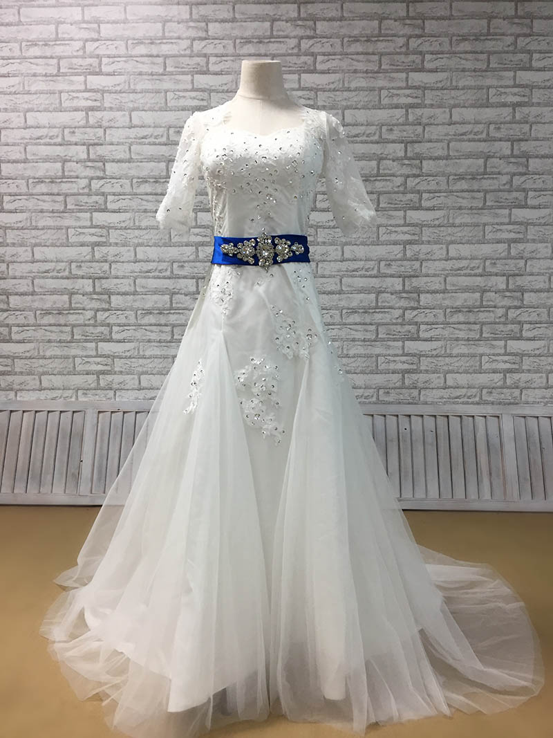 Hite lace half sleeve beaded fit and flare tulle wedding for Blue sash for wedding dress