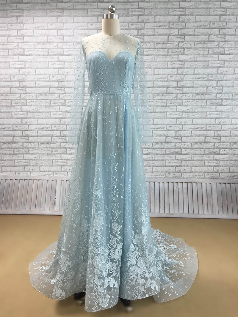 All-over Lace and Less Beading Sweep Train Blue Wedding Dress ...