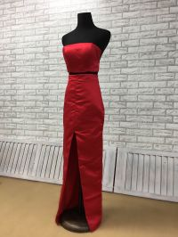 red two piece prom dress with invisible zippers