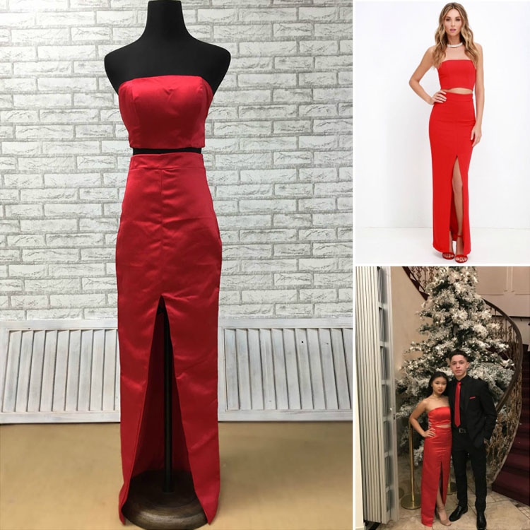 tight fitted red two piece prom dress with invisible zippers