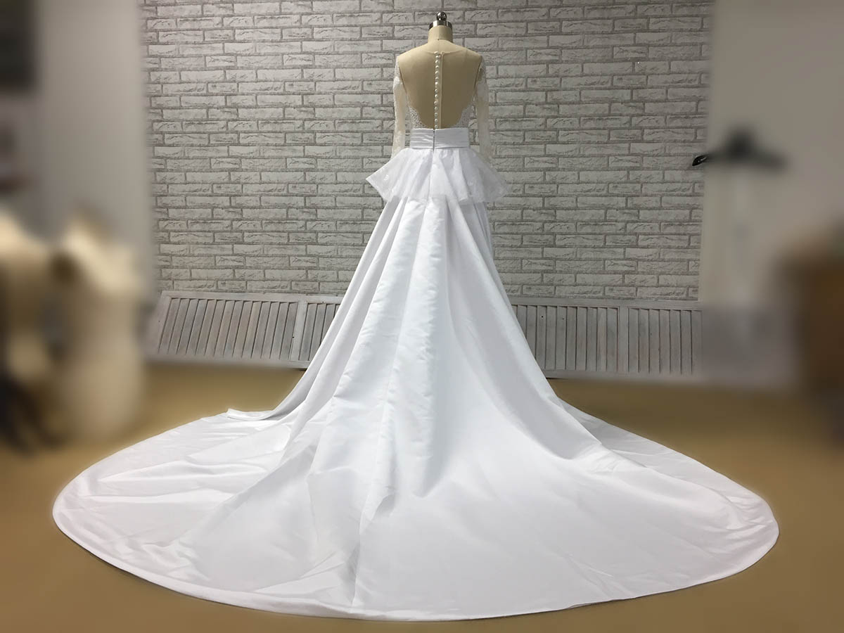 Satin Ball Gown Wedding Dress: Perfectly Mermaid Satin Lace Wedding Dress With Ball Gown