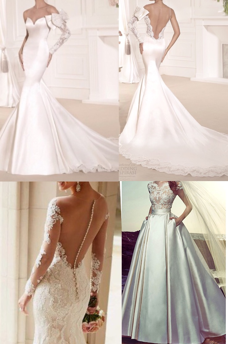 Perfectly Mermaid Satin Lace Wedding Dress with Ball Gown ...