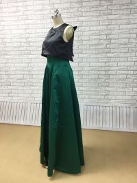 dark pine green bottom two piece A shape dress