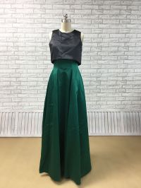 dark pine green bottom two piece satin dress