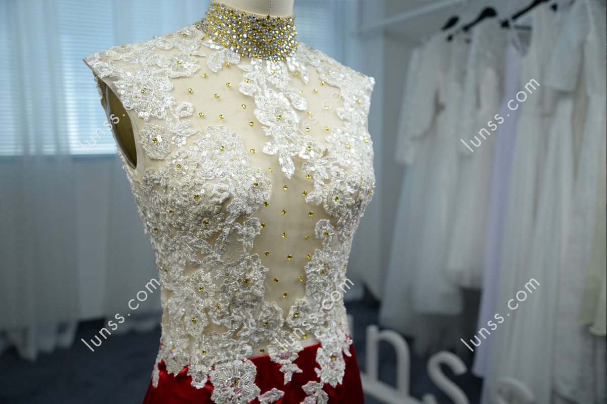 Exquisite beaded lace appliques high neck silky shiny ruby mermaid