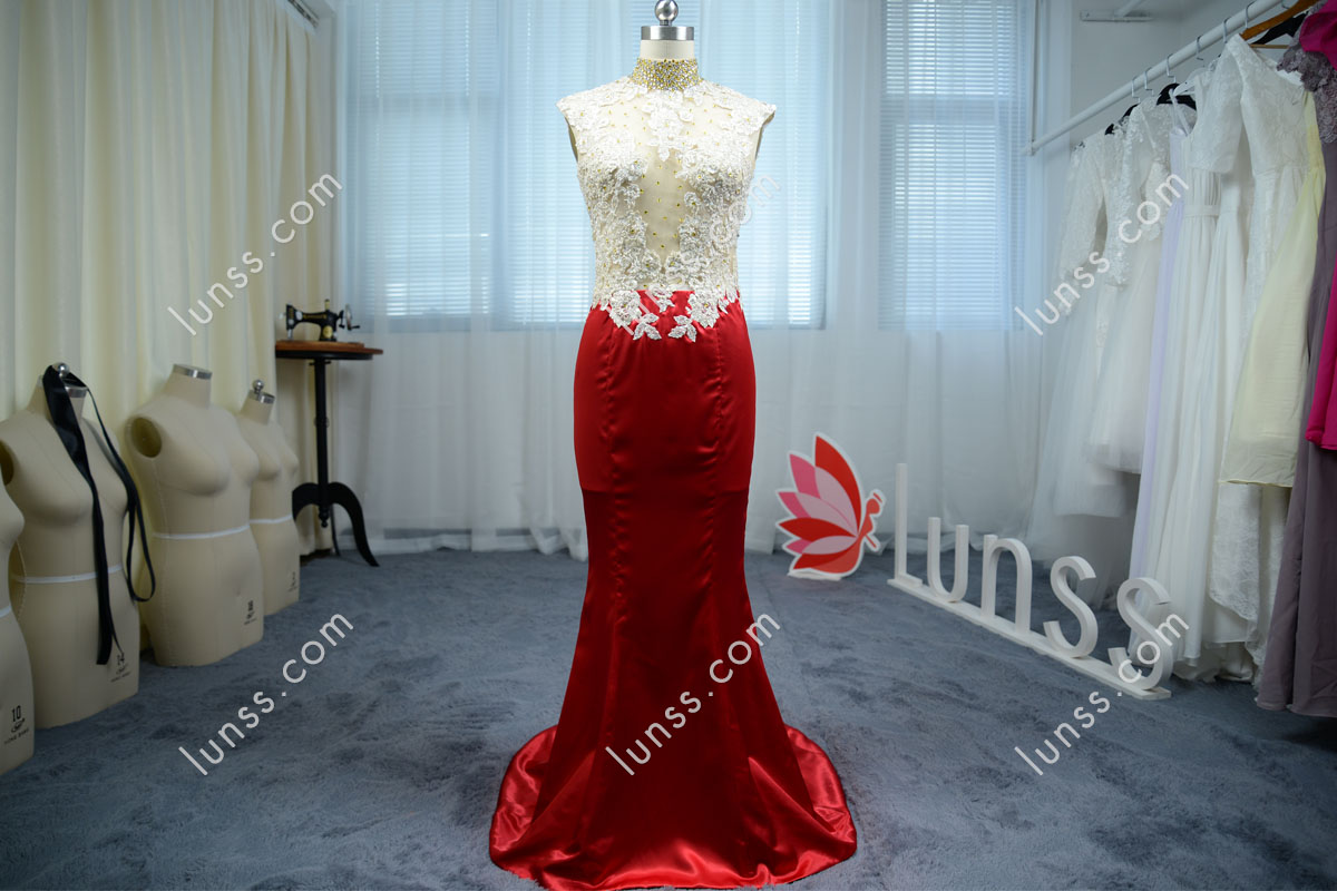 Exquisite Beaded Lace Appliques High Neck Silky Shiny Ruby Mermaid ...
