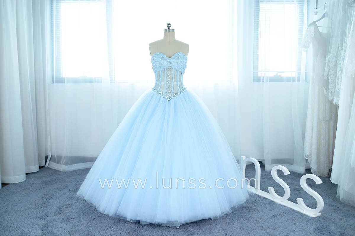 20411a7c715 illusion strapless pearl layered tulle ball gown prom dress in baby blue