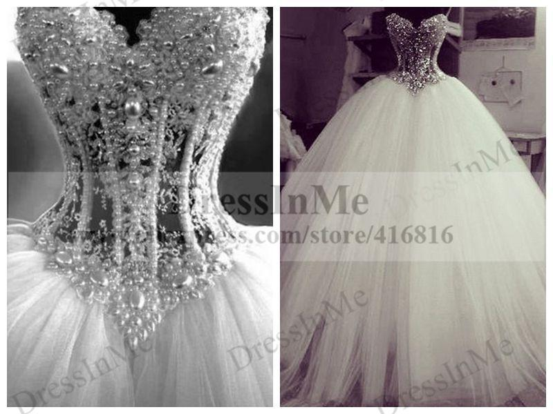 Illusion Strapless Pearl Layered Tulle Ball Gown Prom Dress Made in ...
