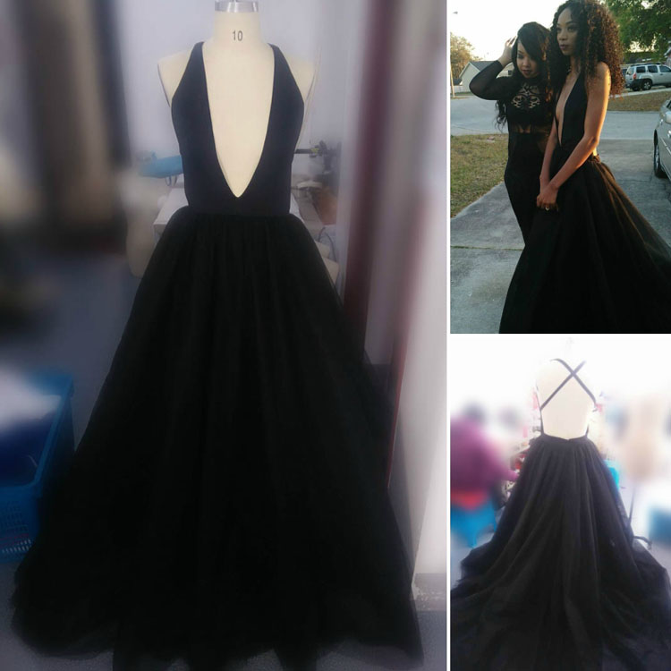 Black Spandex and Tulle Plunging Prom Dress