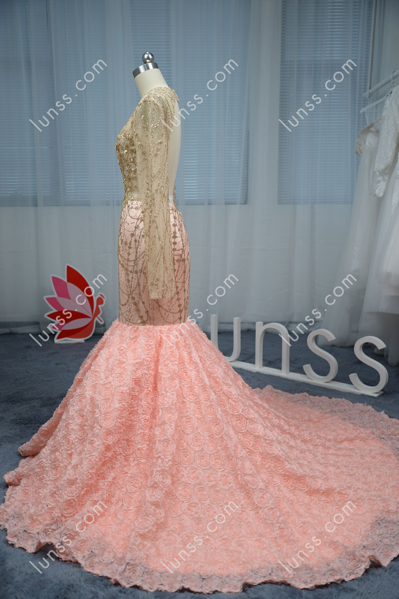 Beautiful Gold Glitter Pink Floral Mermaid Prom Dress Altered with ...