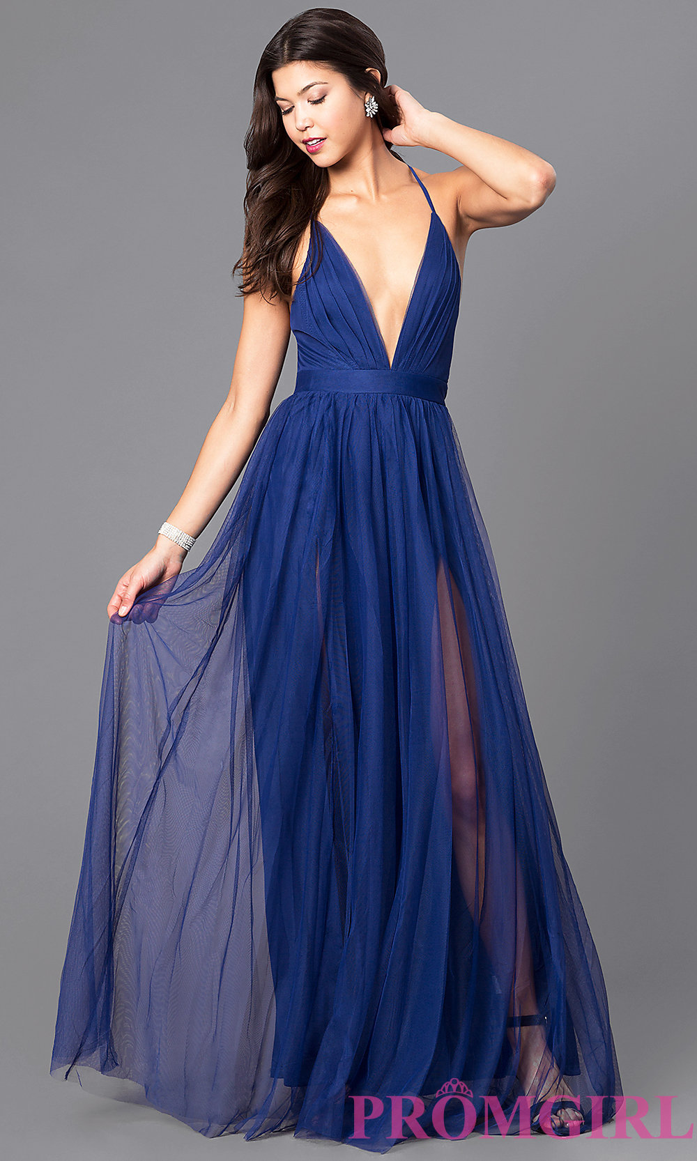 Flowy A-line V-neck Burgundy Tulle Ball Dress with Side Slit ...