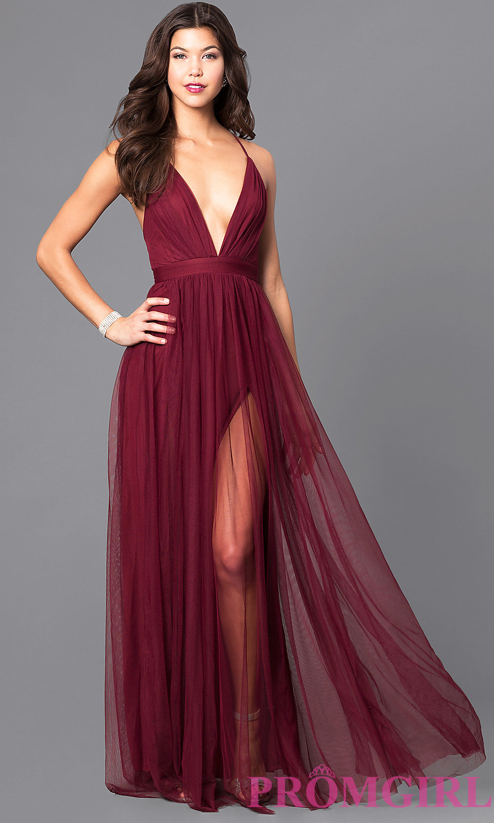 Flowy A-line V-neck Burgundy Tulle Ball Dress with Side Slit ...