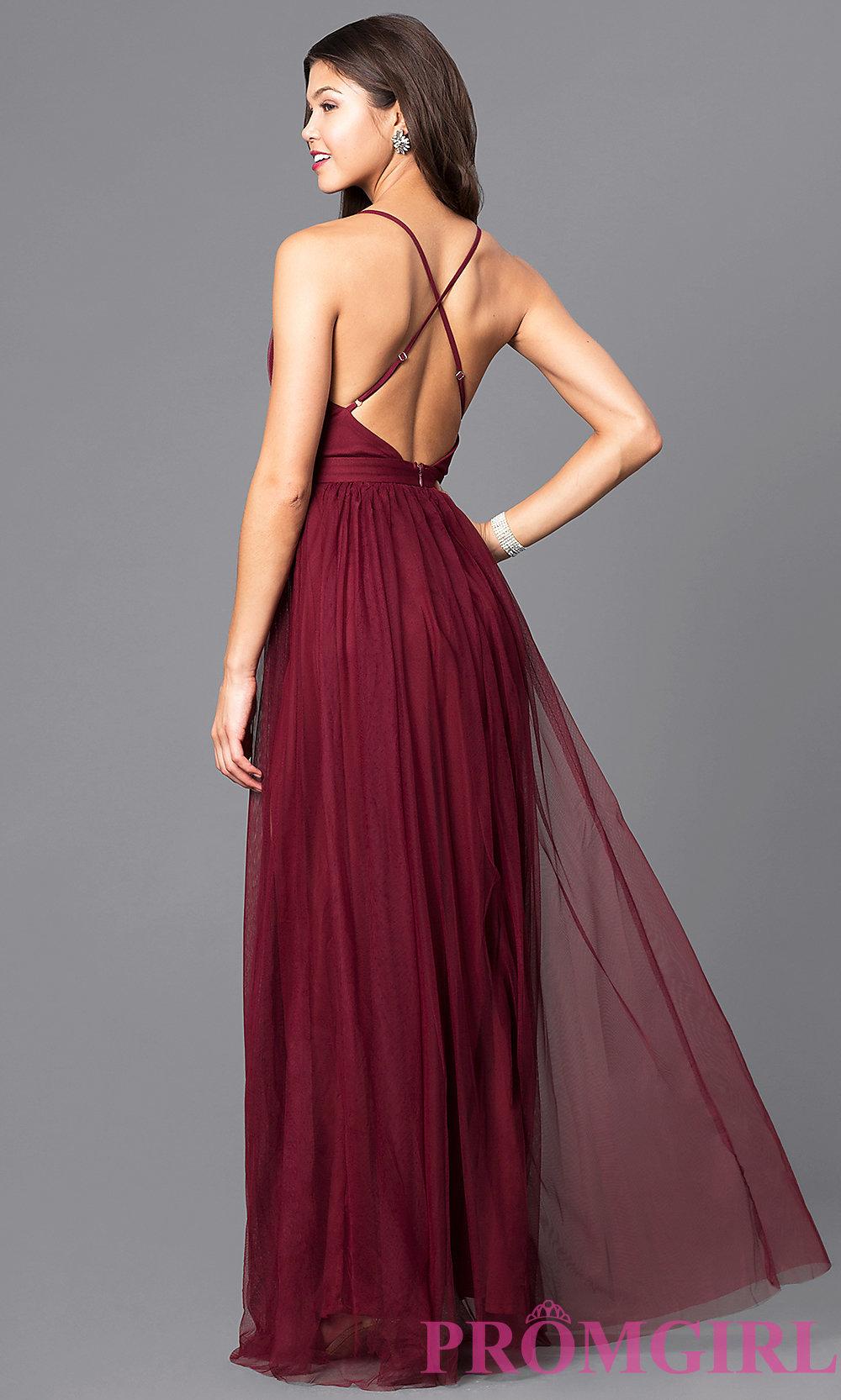 9e169a2b70b Flowy A-line V-neck Burgundy Tulle Ball Dress with Side Slit ...