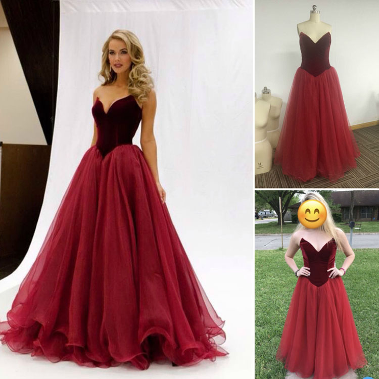 Dark Red Velvet Prom Dress