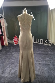 champagne satin prom dress with illusion back