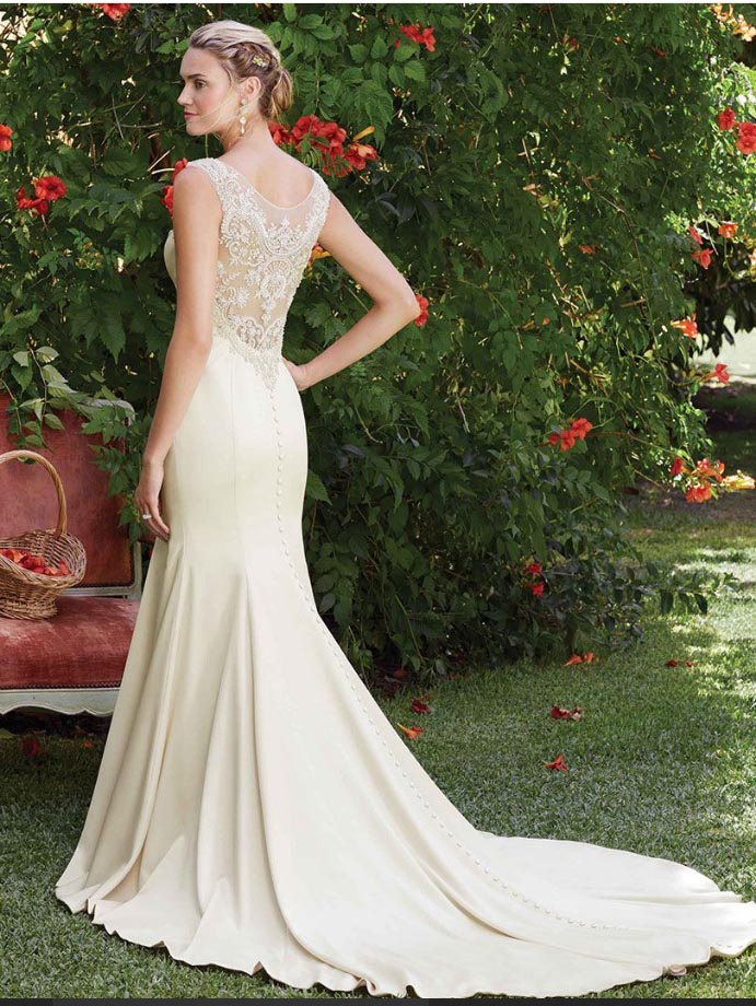 Make the dress in champagne color with no train custom for Wedding dresses no train