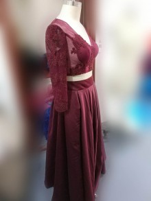 Two piece burgundy stunning prom dress