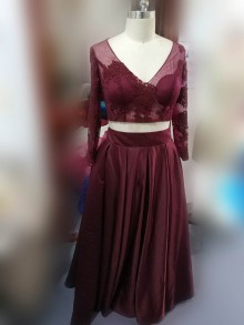burgundy lace and satin stunning prom dress