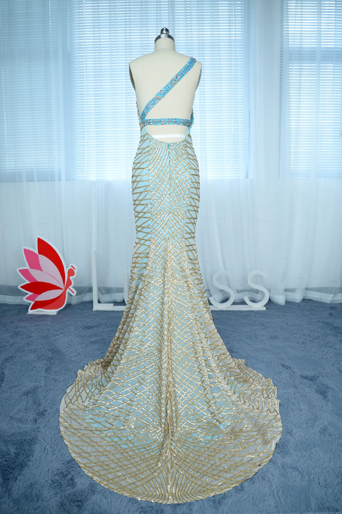 Customized Teal Mermaid Dress with Geometric Gold Sequin Overlay ...