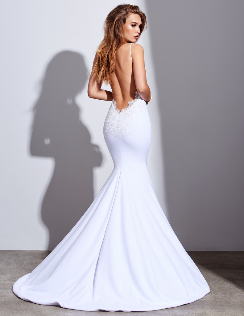 Amazing Silky White Satin Mermaid Dress