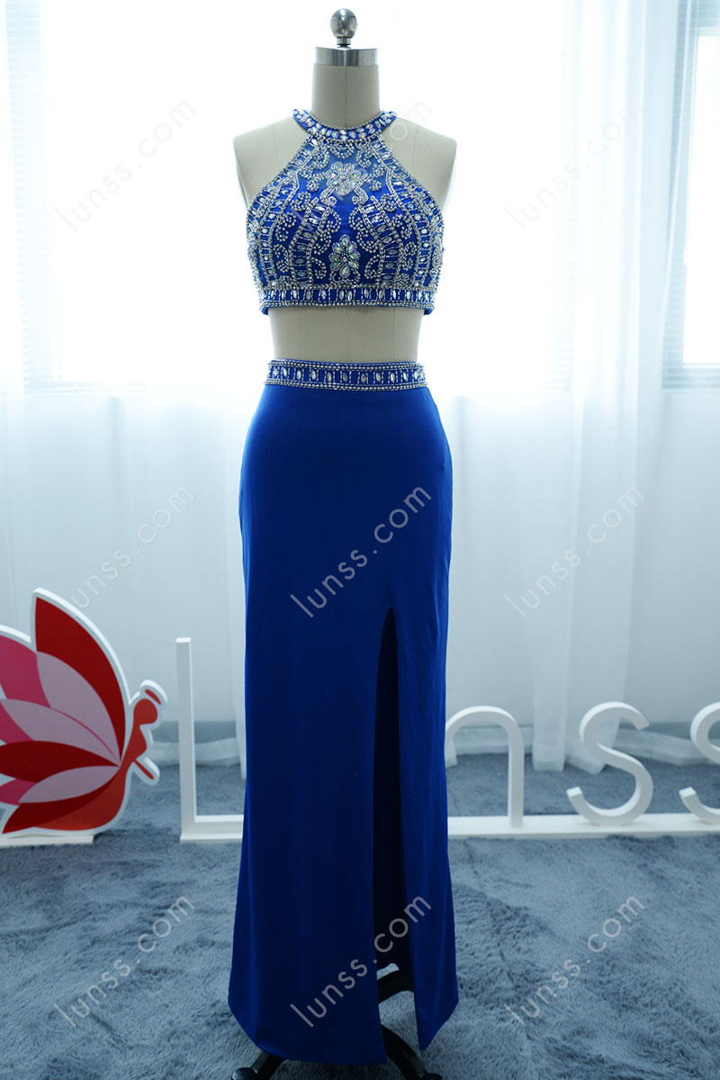 Blue Two-piece Sheath Ankle Length Prom Dress with Beaded Halter ...
