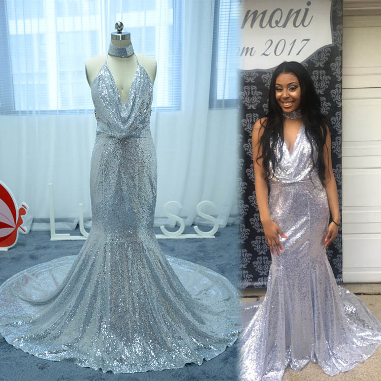 Reviews of Beautiful Halter Silver Sequined Mermaid Dress with ...
