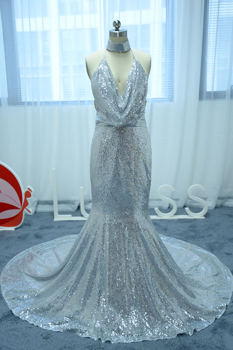 Beautiful Halter Silver Sequined Mermaid Dress with Choker Neckline ...