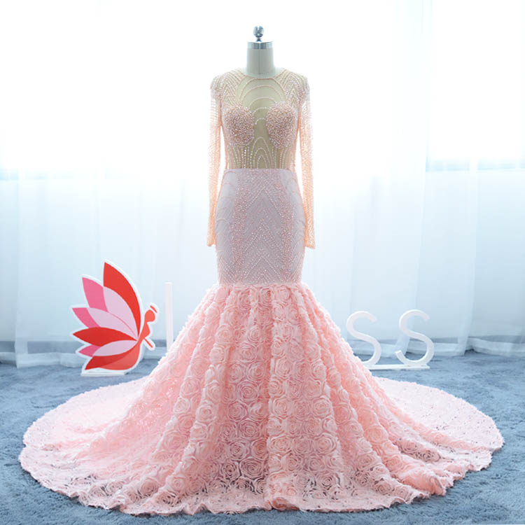 luxury pearls beaded rose trumpet pink prom dress