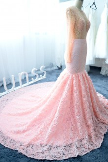 luxury pearls beaded top and pink prom dress