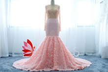 luxury pearls beaded top and rose trumpet skirt pink prom dress