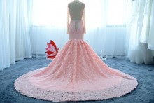 luxury rose trumpet skirt pink prom dress