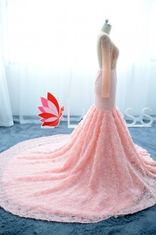 luxury trumpet pink prom dress