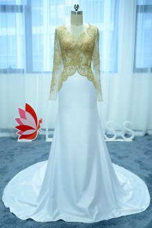 Gold Lace Top and White Satin Mermaid Prom Dress